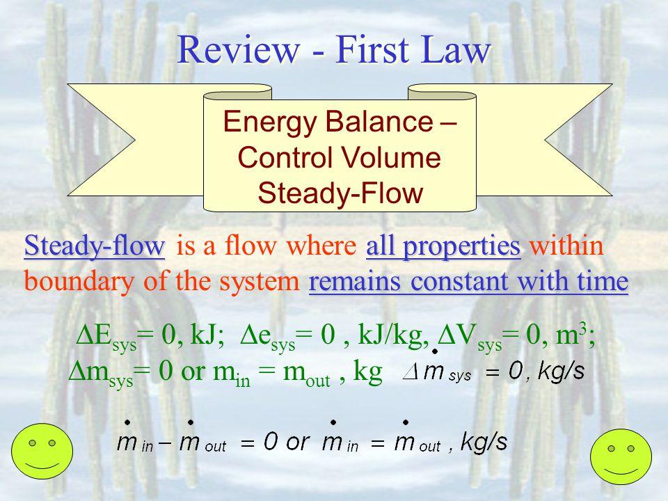 Energy Balance – Control Volume Steady-Flow