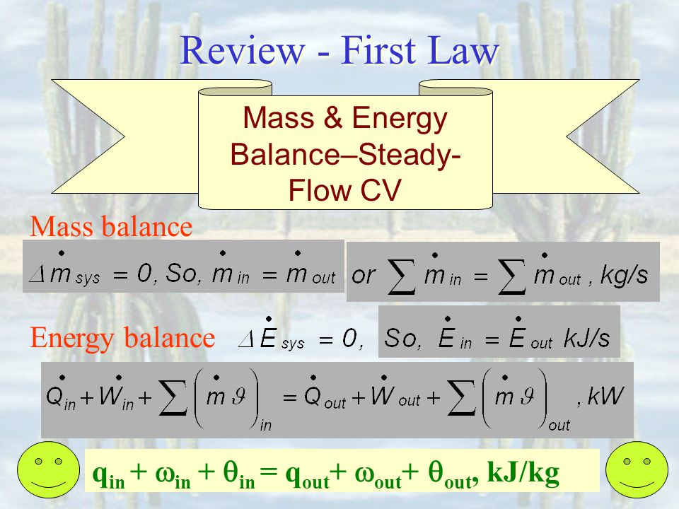 Mass & Energy Balance–Steady-Flow CV