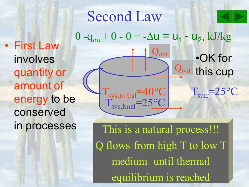 Second Law 0 -qout+ 0 - 0 = -Du = u1 - u2, kJ/kg