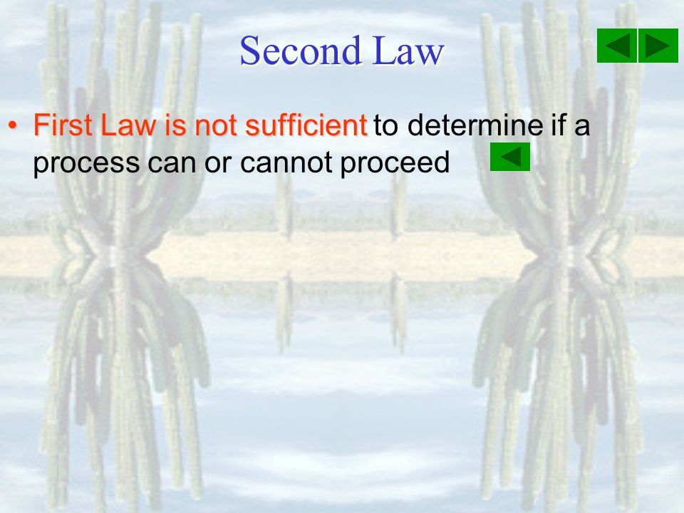 Second Law First Law is not sufficient to determine if a process can or cannot proceed