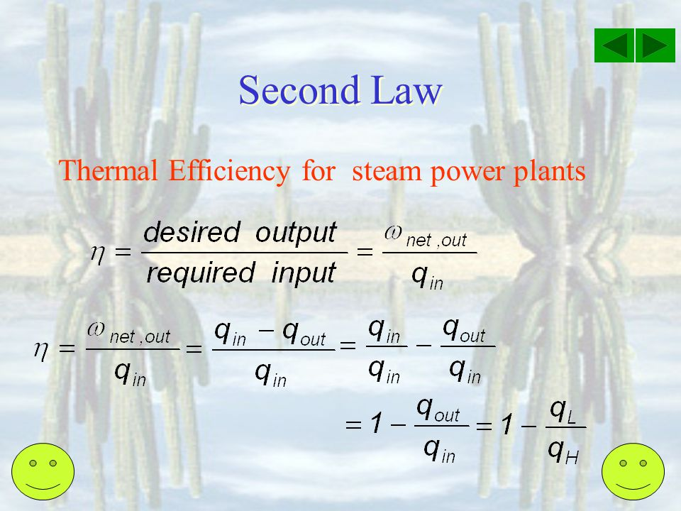Second Law Thermal Efficiency for steam power plants