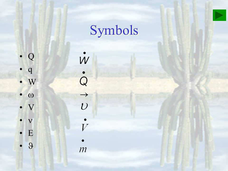Symbols Q q W  V  E 