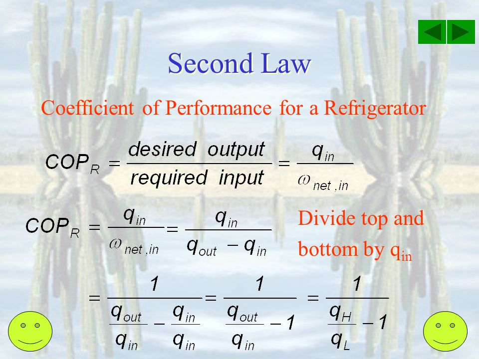 Second Law Coefficient of Performance for a Refrigerator