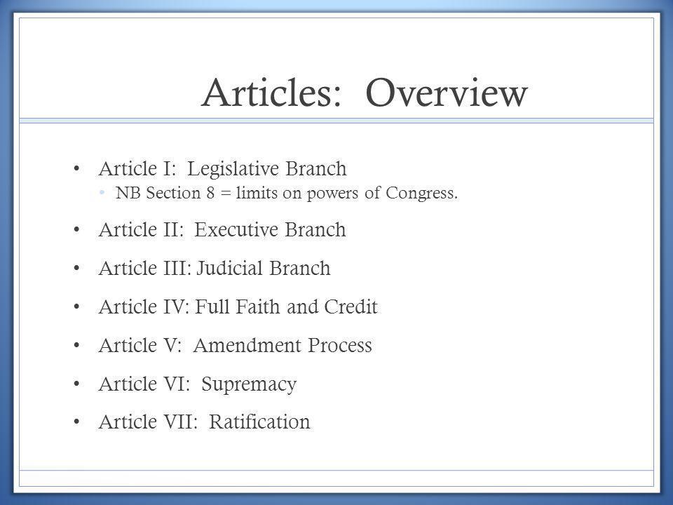 Articles: Overview Article I: Legislative Branch