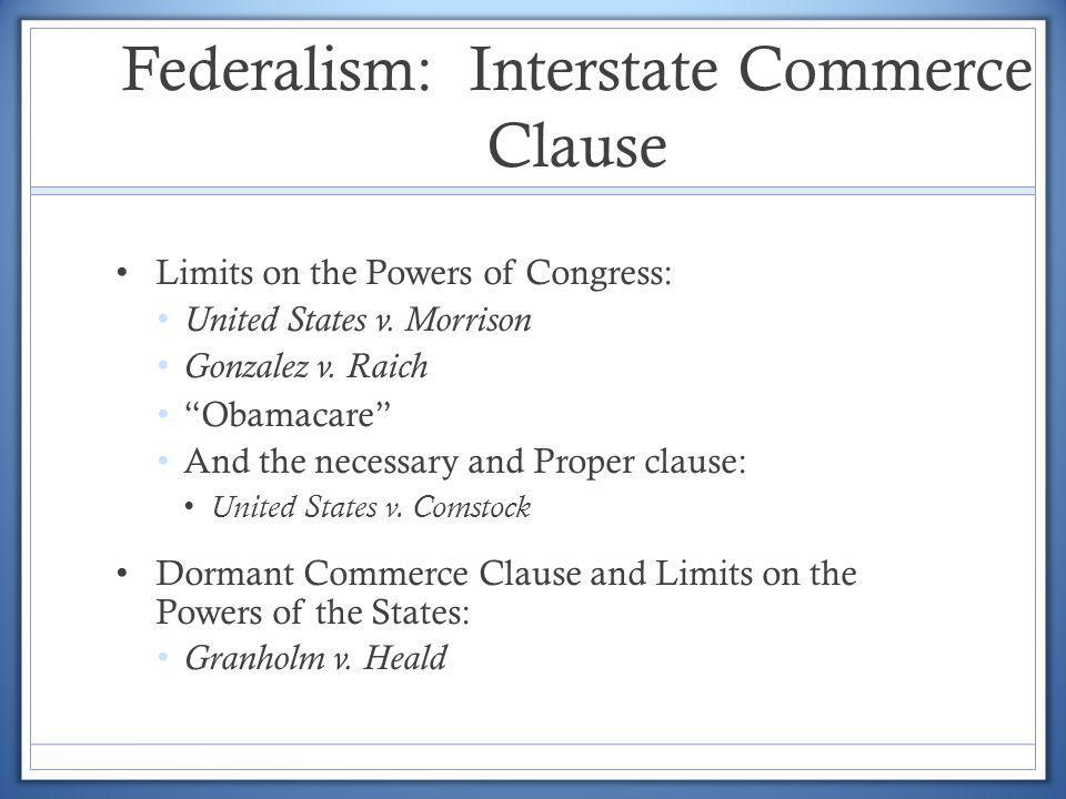 Federalism: Interstate Commerce Clause