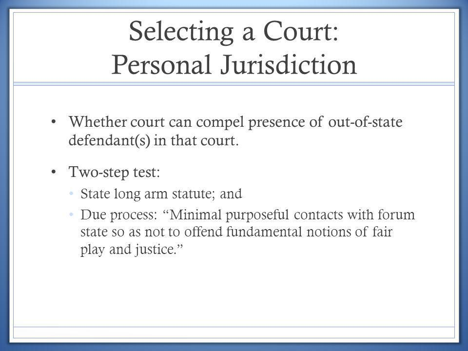 Selecting a Court: Personal Jurisdiction