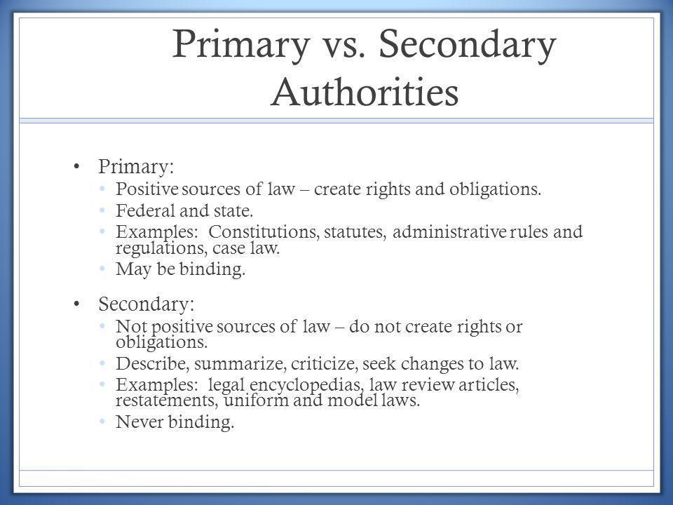 Primary vs. Secondary Authorities