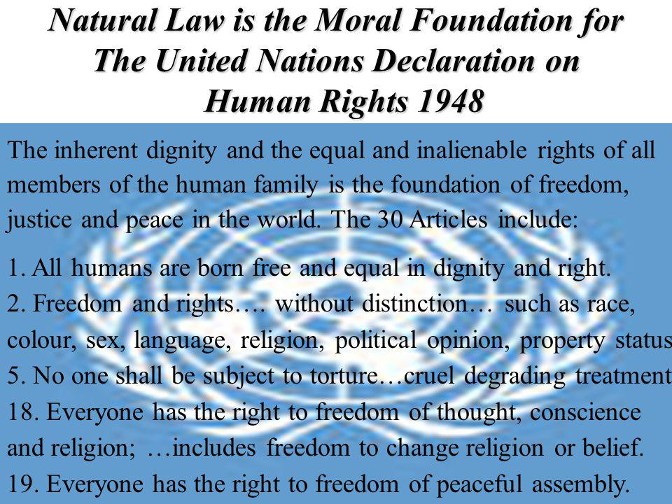 Natural Law is the Moral Foundation for The United Nations Declaration on Human Rights 1948