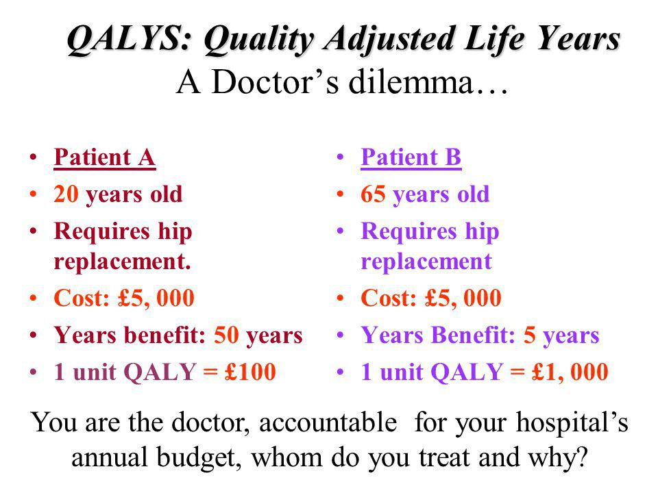 QALYS: Quality Adjusted Life Years A Doctor's dilemma…