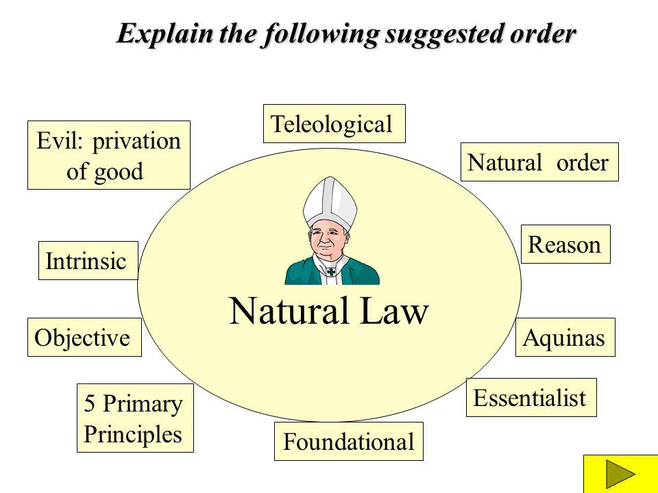 Natural Law Explain the following suggested order Teleological
