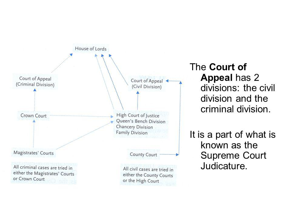 The Court of Appeal has 2 divisions: the civil division and the criminal division.