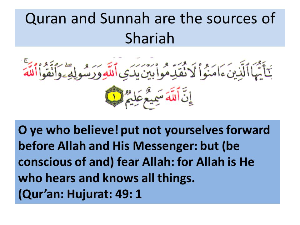 Quran and Sunnah are the sources of Shariah