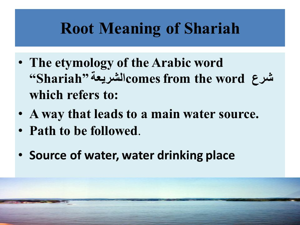 Root Meaning of Shariah
