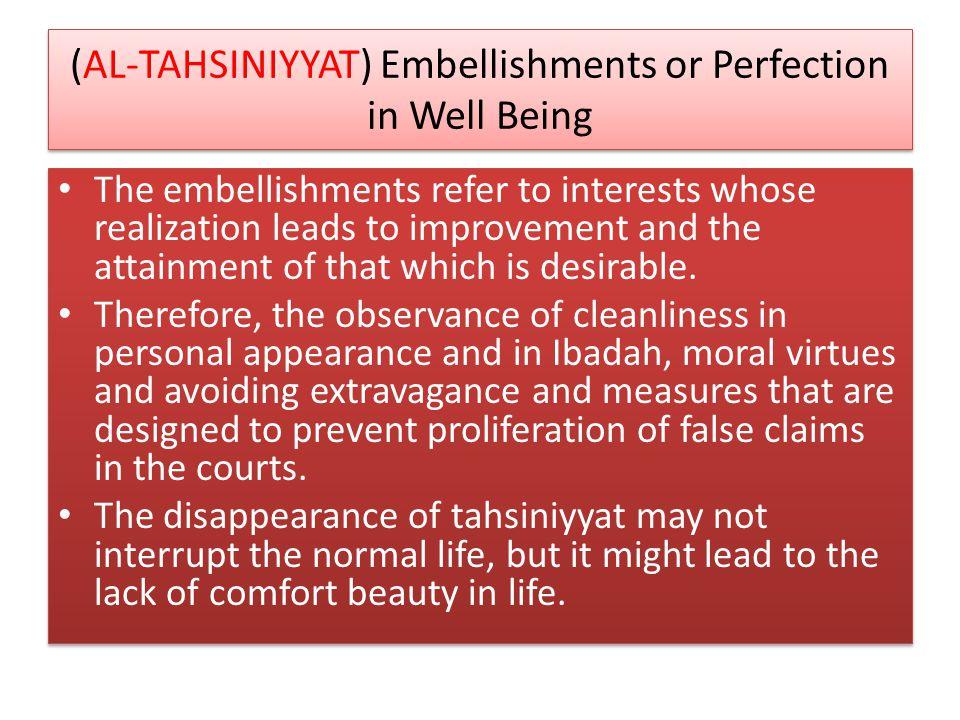 (AL-TAHSINIYYAT) Embellishments or Perfection in Well Being