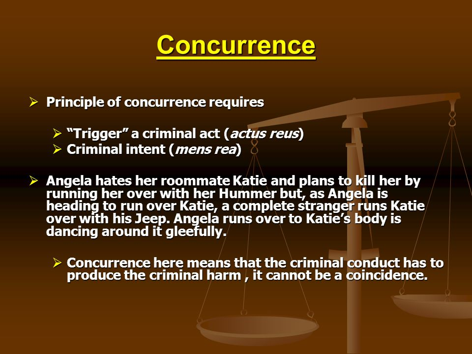 Concurrence Principle of concurrence requires