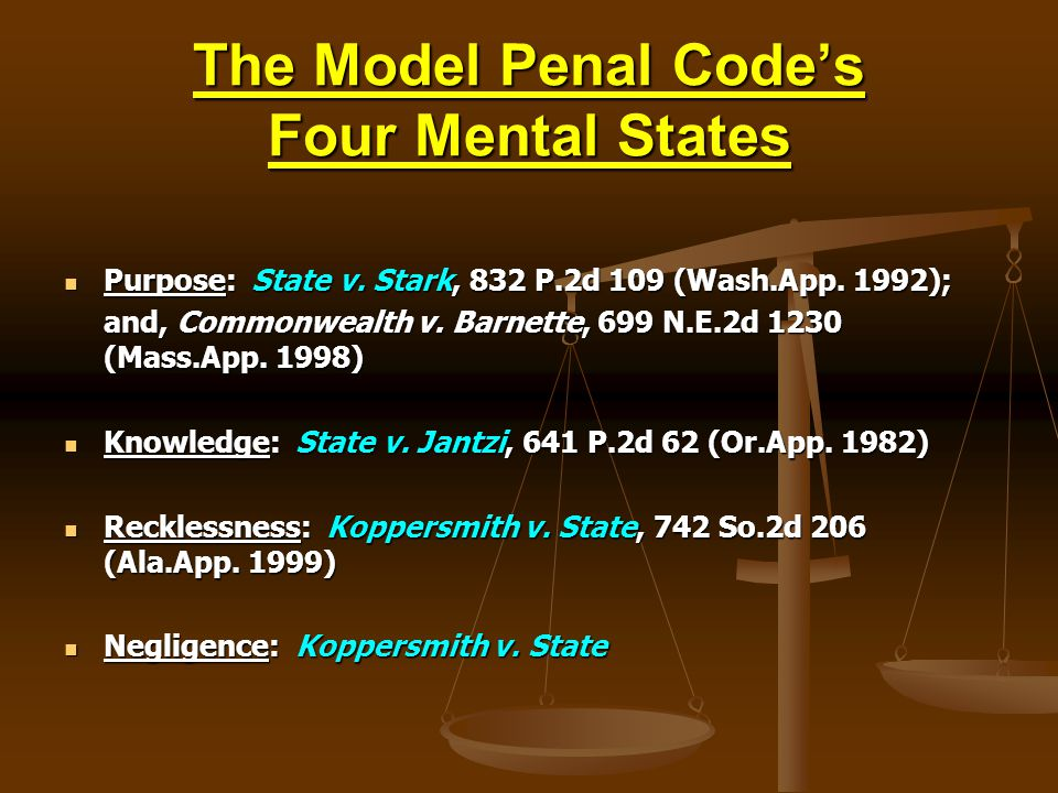 The Model Penal Code's Four Mental States