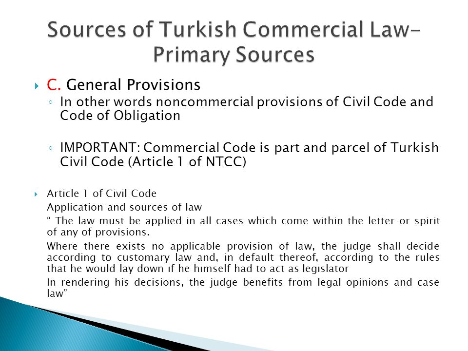 Sources of Turkish Commercial Law- Primary Sources