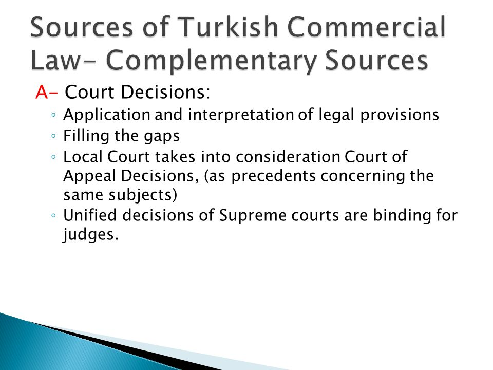 Sources of Turkish Commercial Law- Complementary Sources