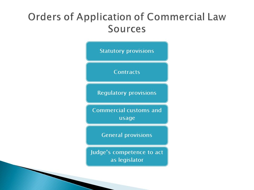 Orders of Application of Commercial Law Sources