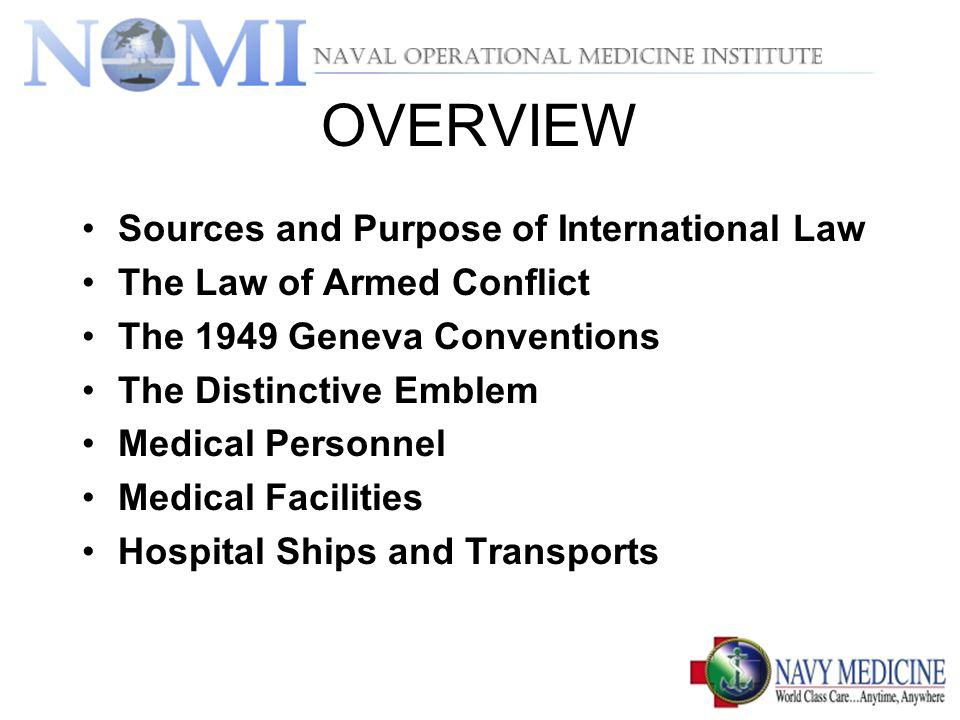 OVERVIEW Sources and Purpose of International Law
