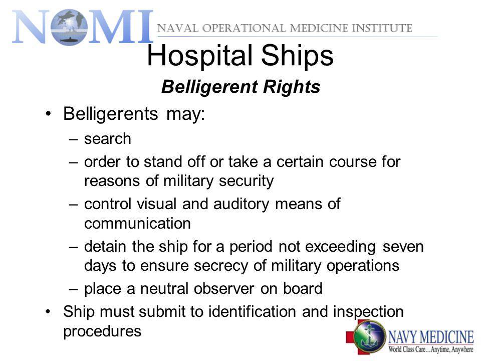 Hospital Ships Belligerent Rights