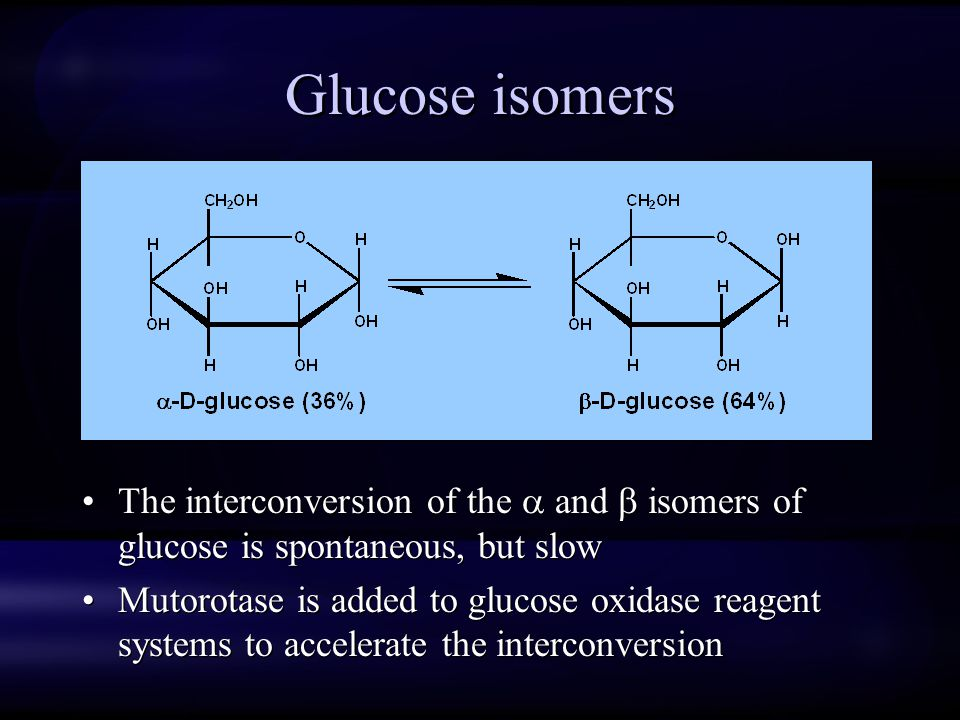 Glucose isomers The interconversion of the  and  isomers of glucose is spontaneous, but slow.