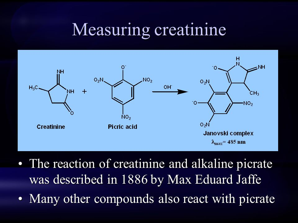 Measuring creatinine The reaction of creatinine and alkaline picrate was described in 1886 by Max Eduard Jaffe.