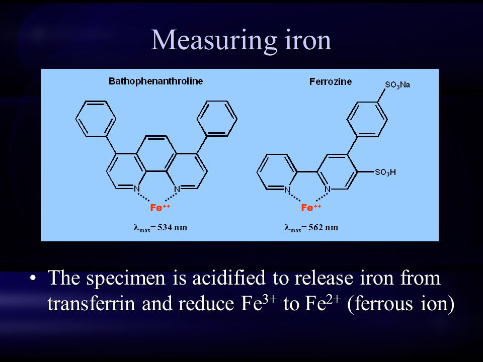 Measuring iron Fe++ max= 534 nm. Fe++ max= 562 nm.