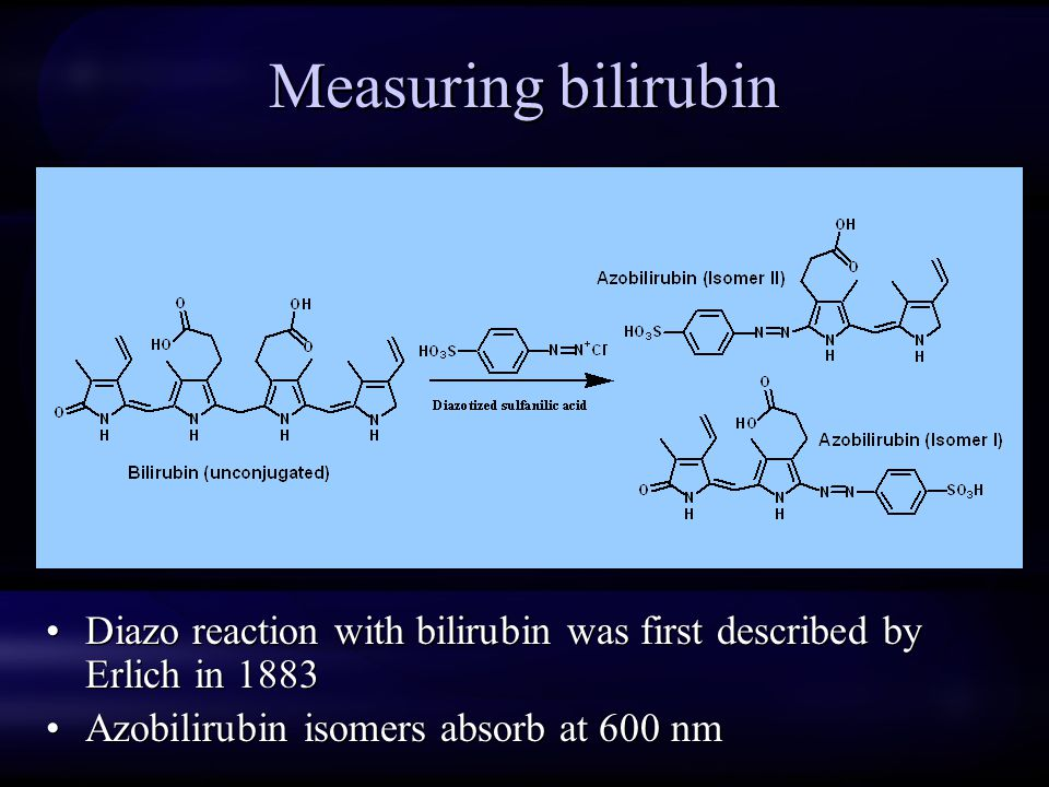 Measuring bilirubin Diazo reaction with bilirubin was first described by Erlich in 1883.