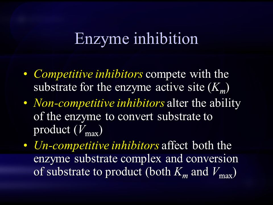 Enzyme inhibition Competitive inhibitors compete with the substrate for the enzyme active site (Km)