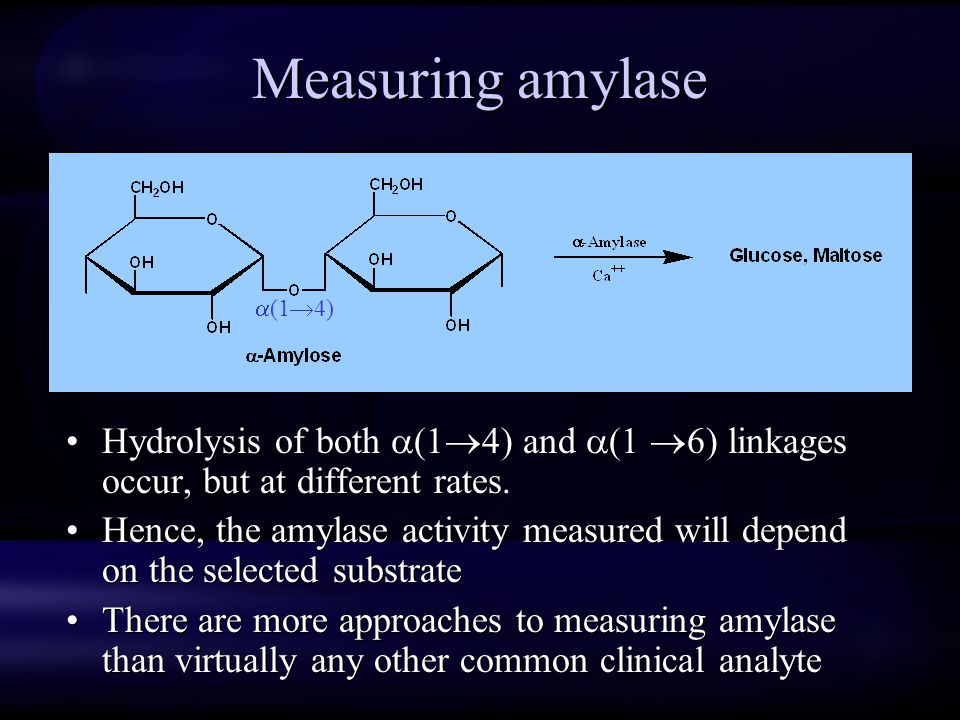 Measuring amylase (14) Hydrolysis of both (14) and (1 6) linkages occur, but at different rates.