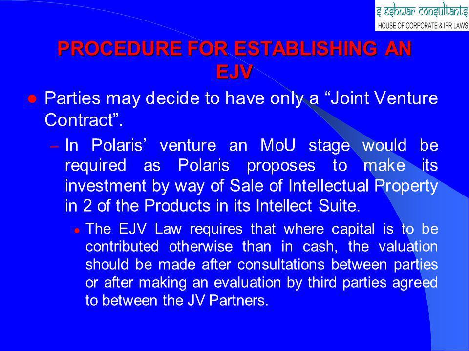 PROCEDURE FOR ESTABLISHING AN EJV