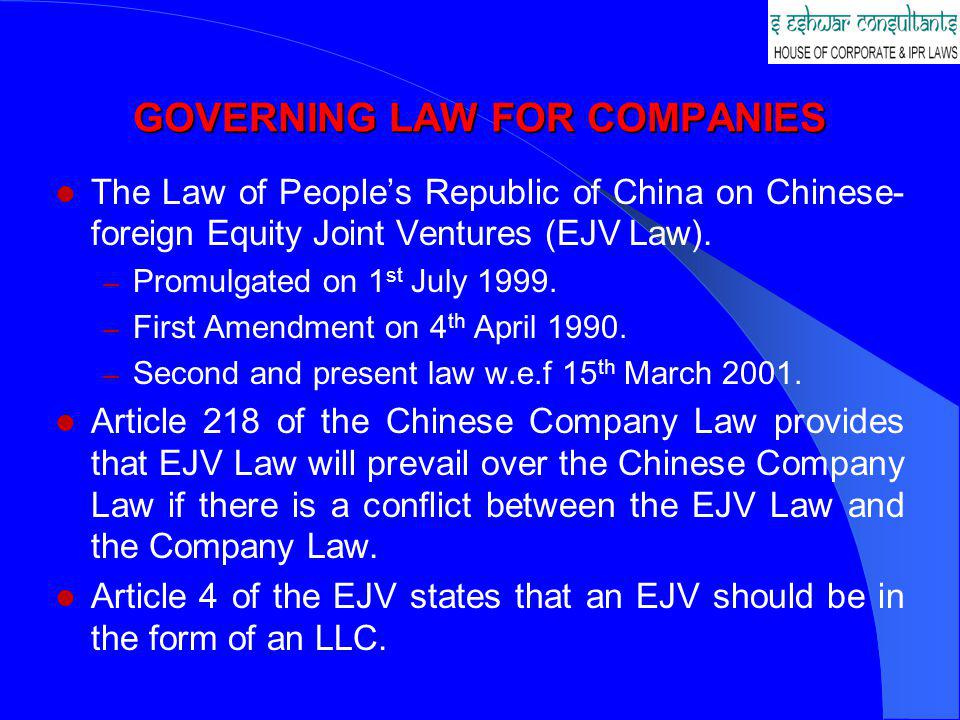 GOVERNING LAW FOR COMPANIES