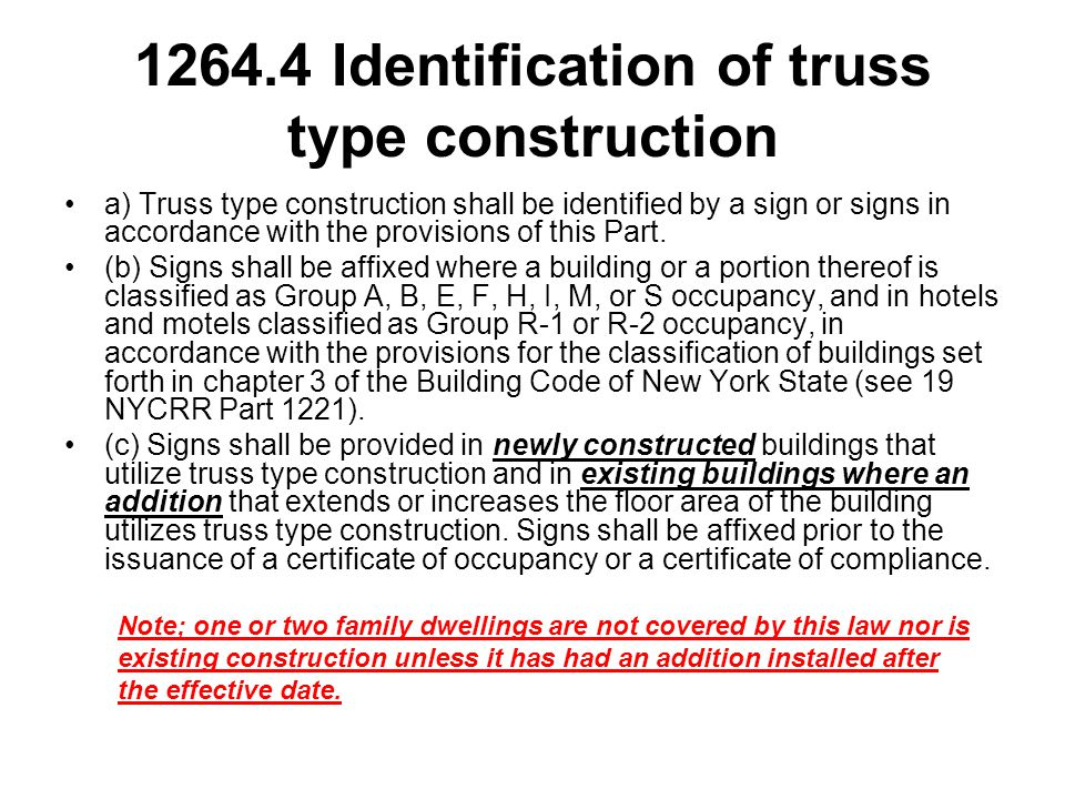 1264.4 Identification of truss type construction