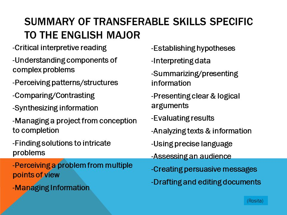 Summary of Transferable skills specific to the English Major