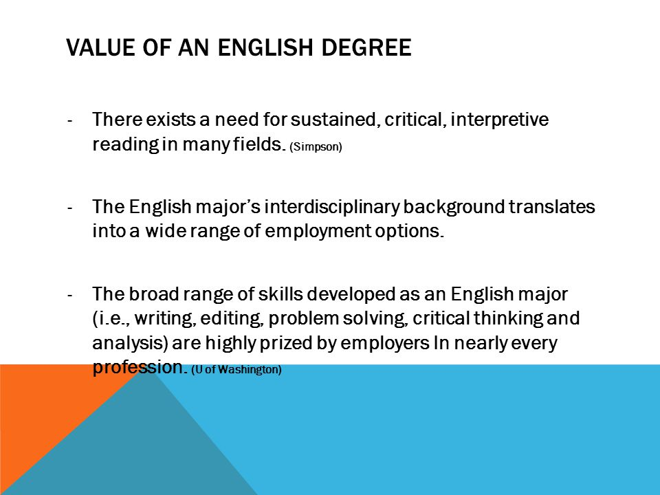 Value of AN English degree
