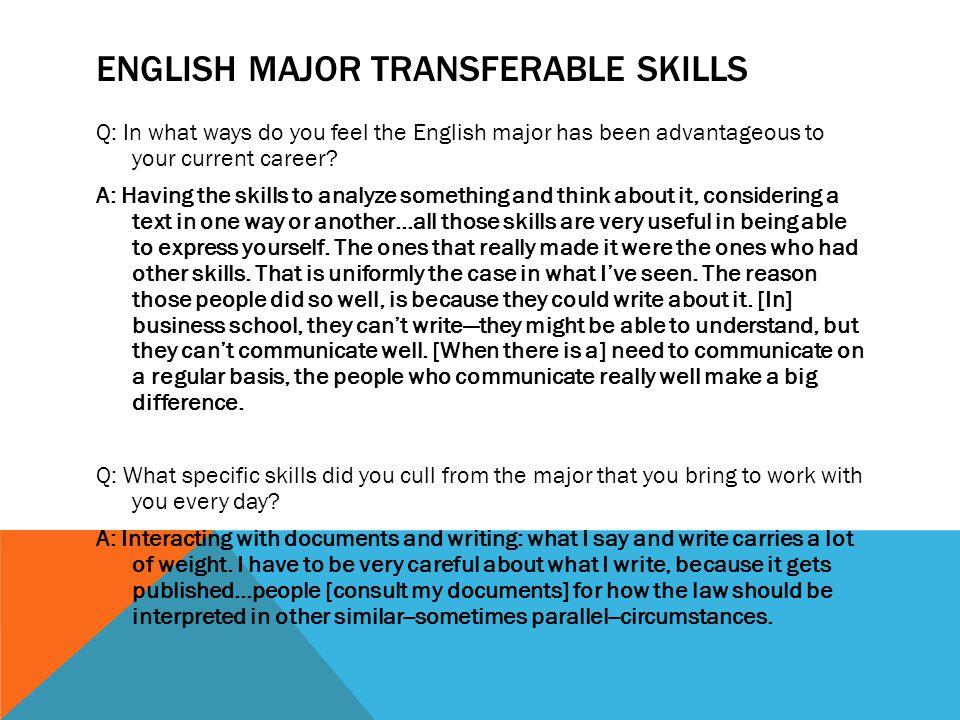English major Transferable skills