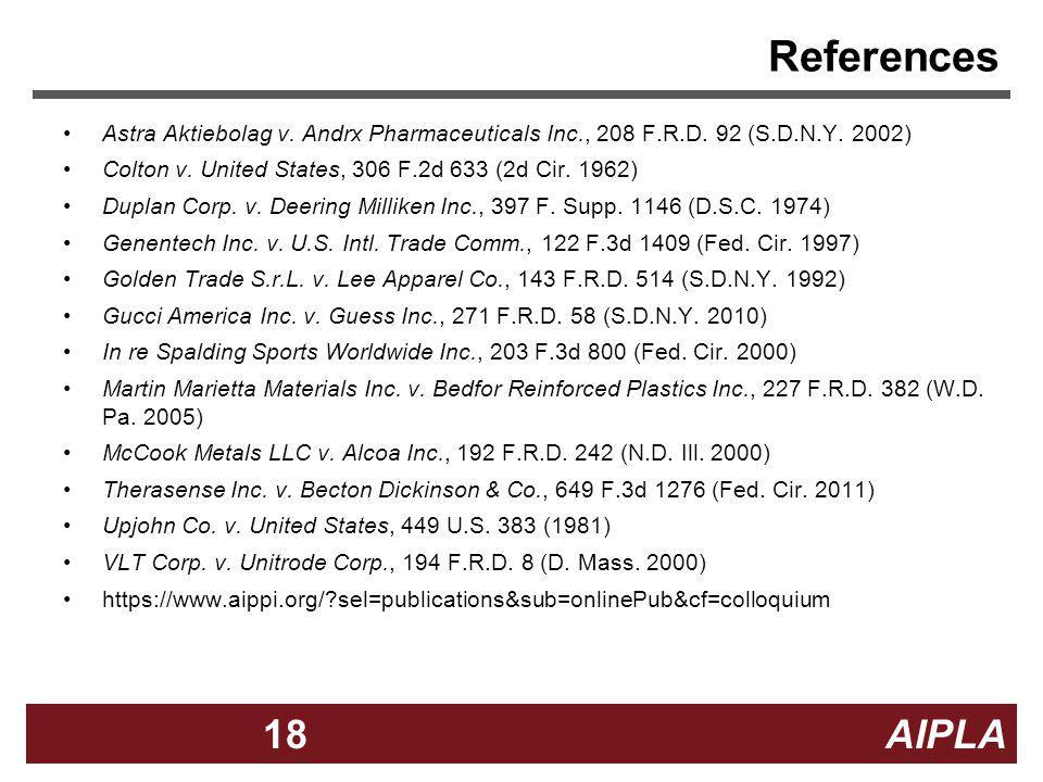 References Astra Aktiebolag v. Andrx Pharmaceuticals Inc., 208 F.R.D. 92 (S.D.N.Y. 2002) Colton v. United States, 306 F.2d 633 (2d Cir. 1962)