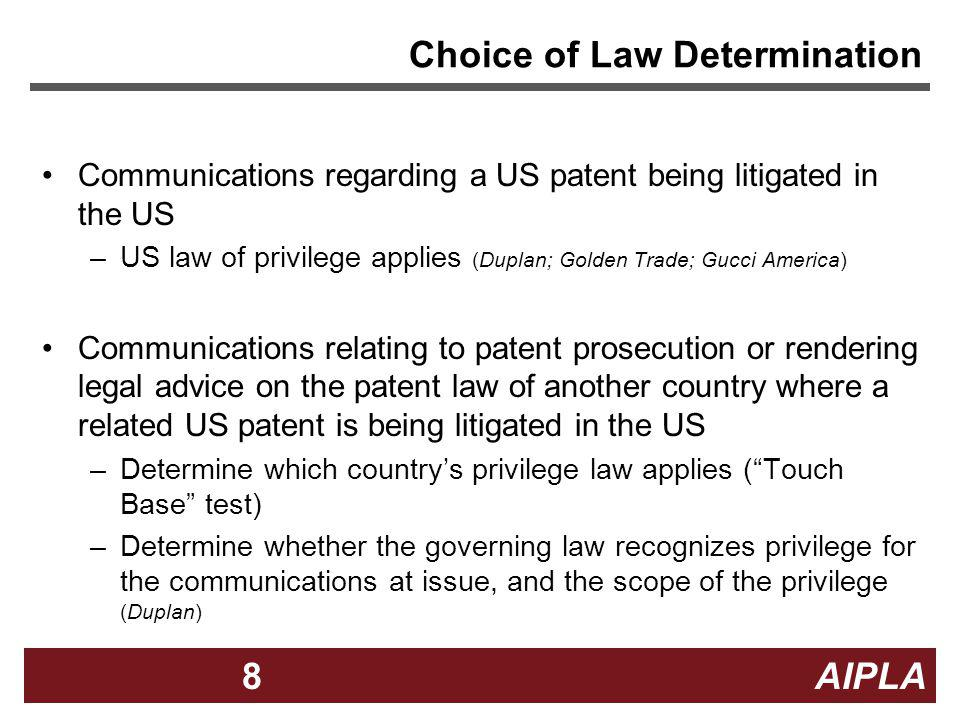 Choice of Law Determination