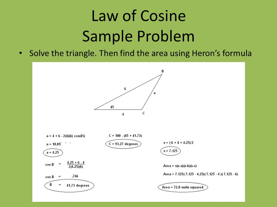 Law of Cosine Sample Problem