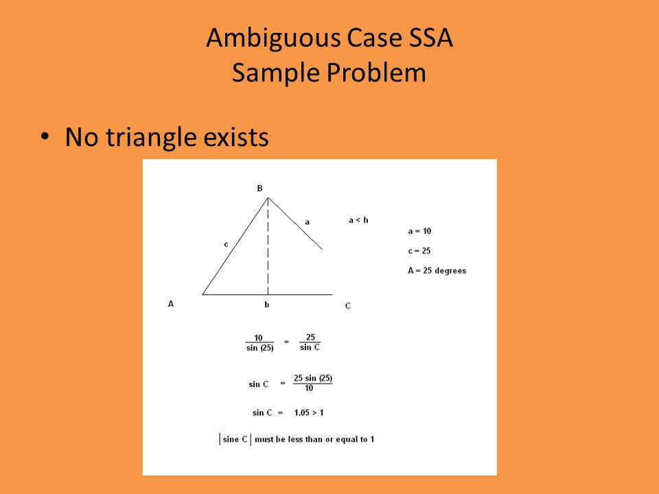 Ambiguous Case SSA Sample Problem