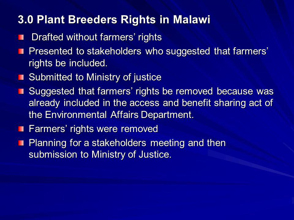 3.0 Plant Breeders Rights in Malawi