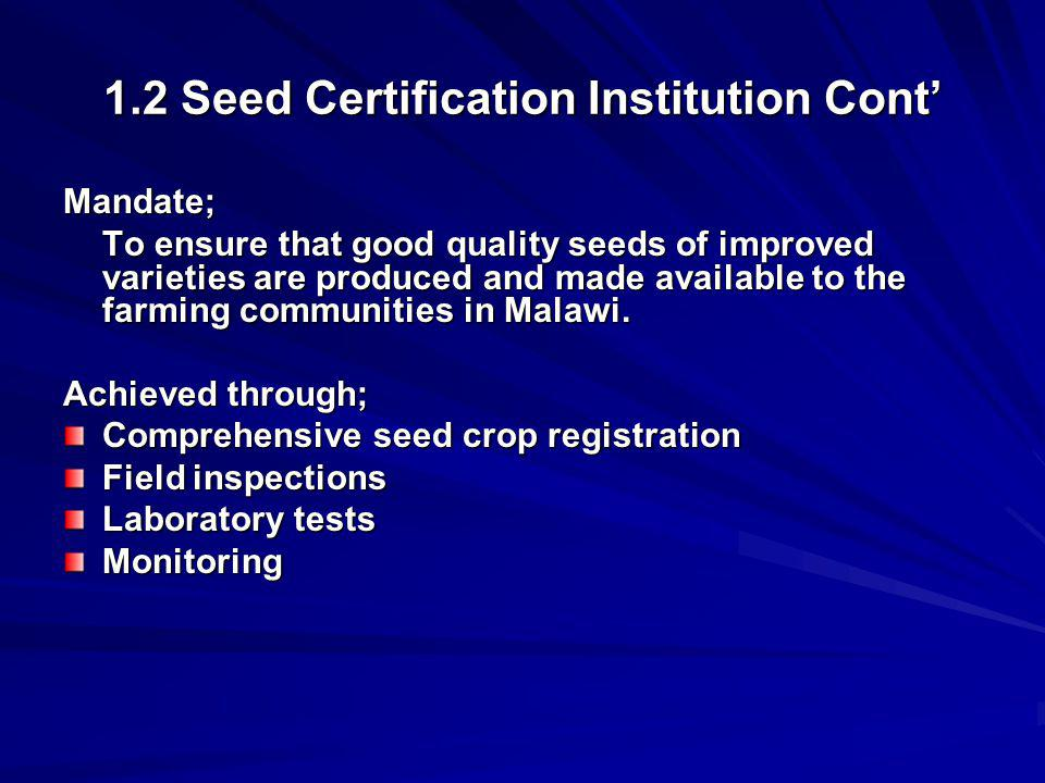 1.2 Seed Certification Institution Cont'