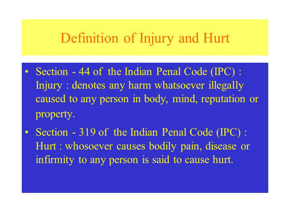 Definition of Injury and Hurt