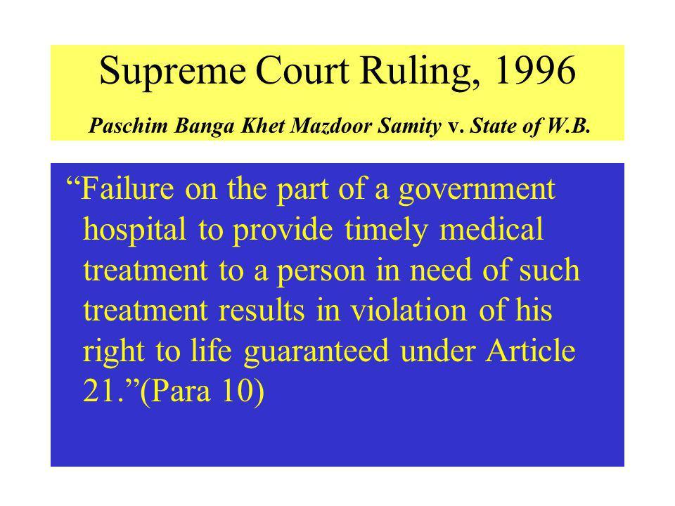 Supreme Court Ruling, 1996 Paschim Banga Khet Mazdoor Samity v
