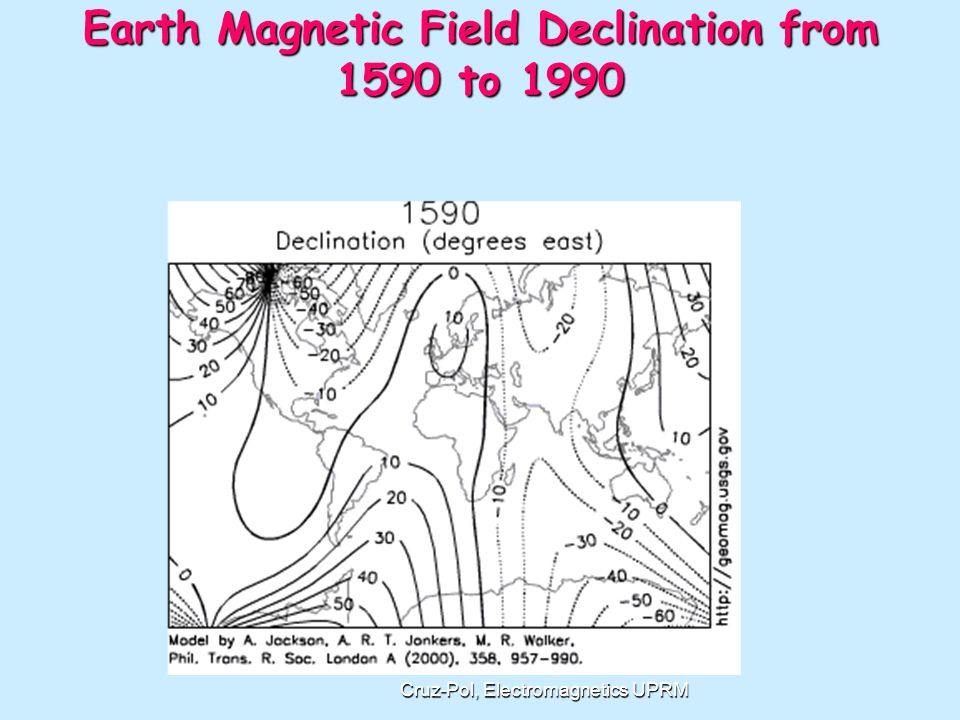 Earth Magnetic Field Declination from 1590 to 1990