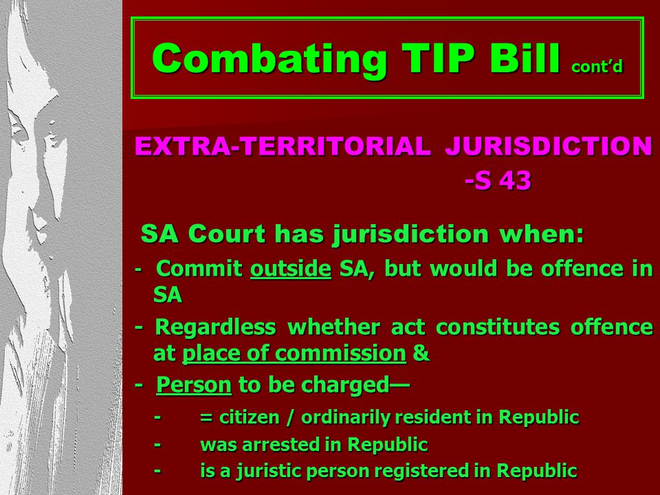 Combating TIP Bill cont'd