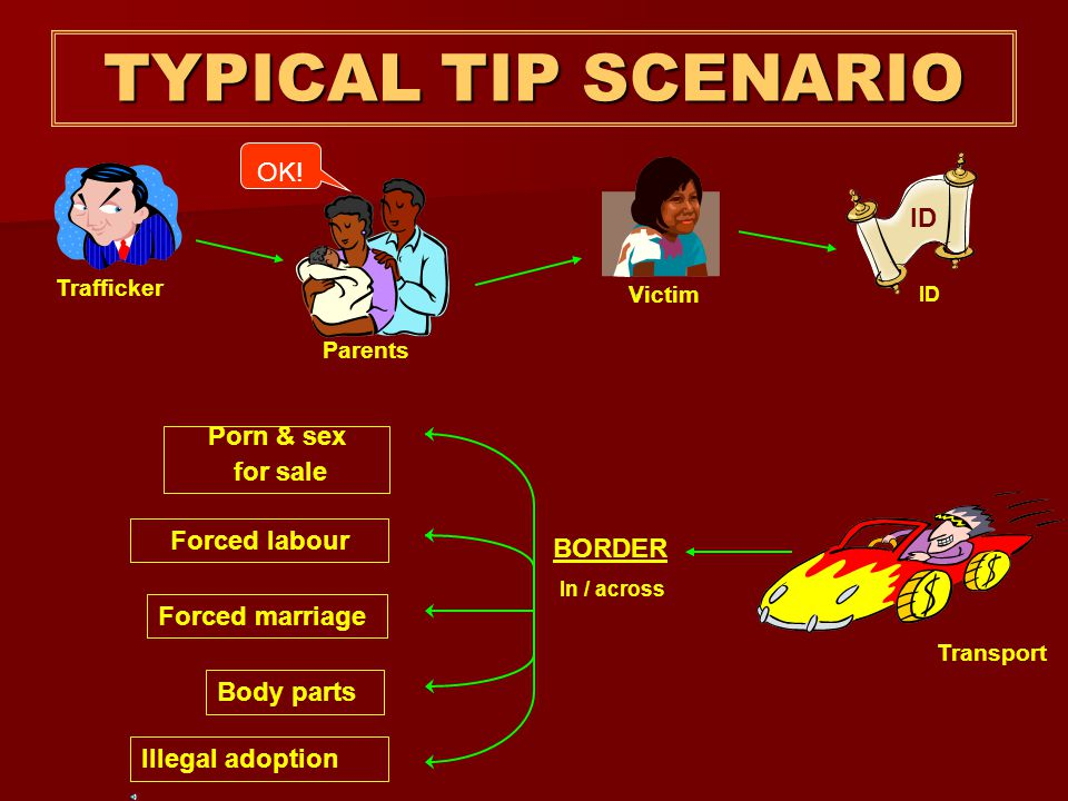 TYPICAL TIP SCENARIO OK! ID Porn & sex for sale Forced labour BORDER