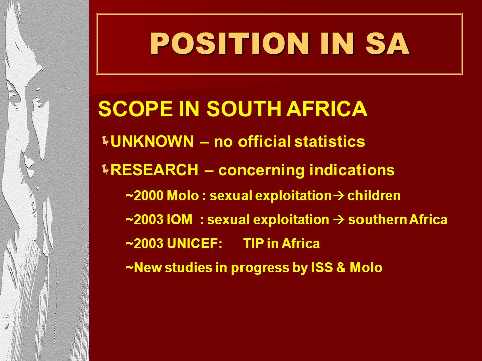 POSITION IN SA SCOPE IN SOUTH AFRICA UNKNOWN – no official statistics