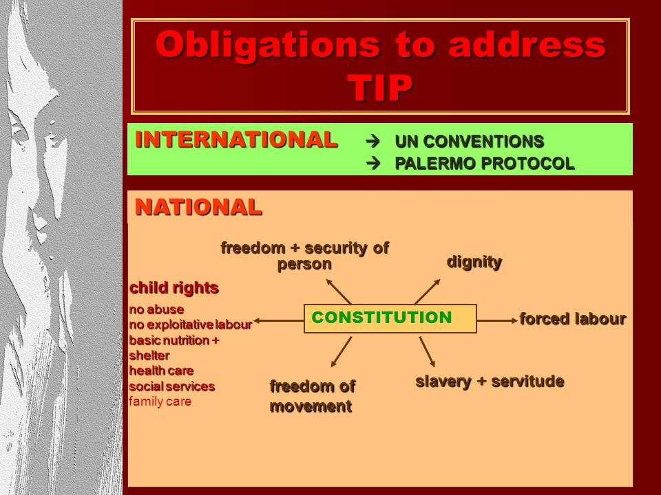 Obligations to address TIP freedom + security of person